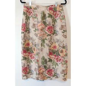 Talbots Linen Floral Skirt